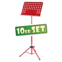 Classic Cantabile - Lot de 10 Pupitre d'Orchestre Lourd en Rouge Tôle Perforée