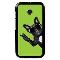 Kabiloo - Coque noire pour Motorola Moto E motif chien à lunettes sur fond vert