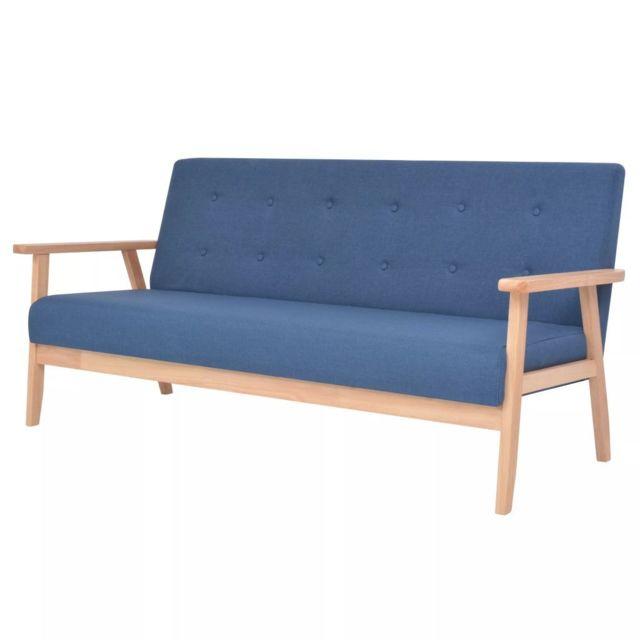 VIDAXL Canapé à 3 places Tissu Bleu | Bleu