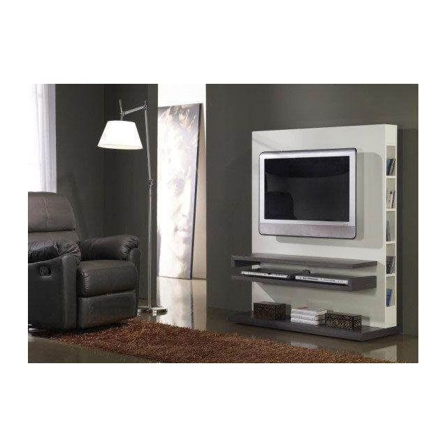 Sofamobili Meuble Tv couleur cèdre gris et blanc laqué brillant contemporain Sparta