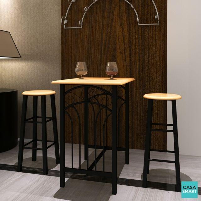 Casasmart Ensemble table haute de bar acier et bois + 2 chaises