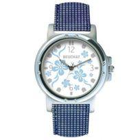 Beuchat - Montre Femme ou Adoslescente Blanc motifs fleurs bleues - Beu9980