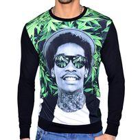 Celebrytees - Celebry Tees - Sweat Shirt - Homme - Rap Green - Noir