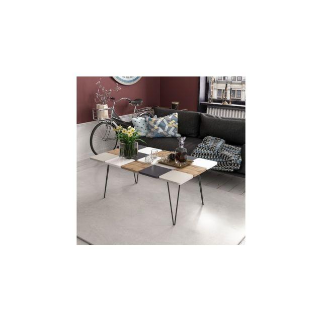 Homemania Table Basse Leaf pour Salon - Blanc, Noyer, Gris, Anthracite en Bois, 110 x 66 x 40 cm