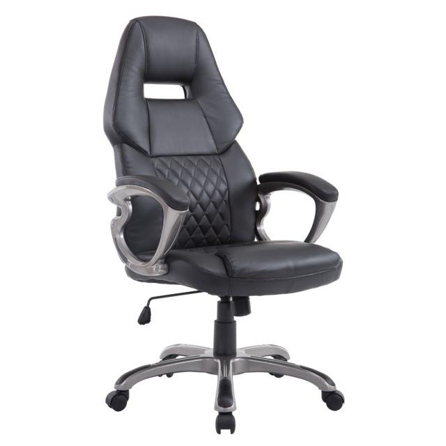 HOMCOM - Fauteuil de bureau manager gaming grand confort style baquet Racing pivotant inclinable dossier assise capitonné noir neuf 18BK