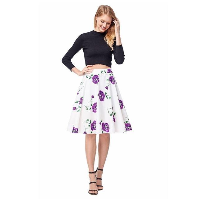fecb5fccec561 Wewoo - Jupes Femme rose Summer Floral Imprimer une ligne jupe mi-longue  évasée vintage