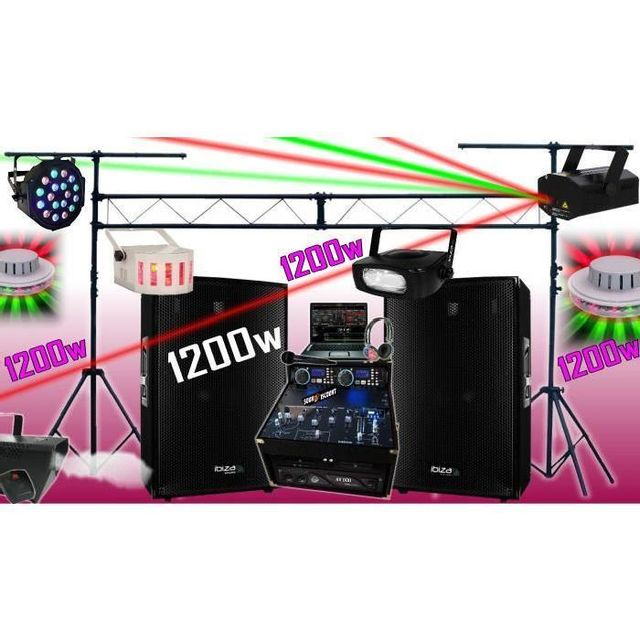 Ibiza Sound Sono complète 1200w - portique - 6 jeux de lumière - fumée - ampli enceintes cd mixage micro dj casque - la totale pa dj