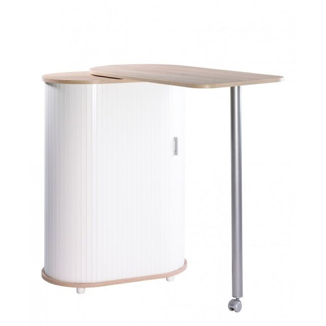 Simmob Table Pivotante et Meuble de Rangement de Cuisine Chêne Naturel Blanc