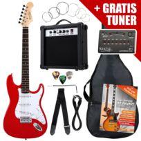 Rocktile - St Pack guitare électrique rouge en Set incl ampli, housse, accordeur, câble, sangle