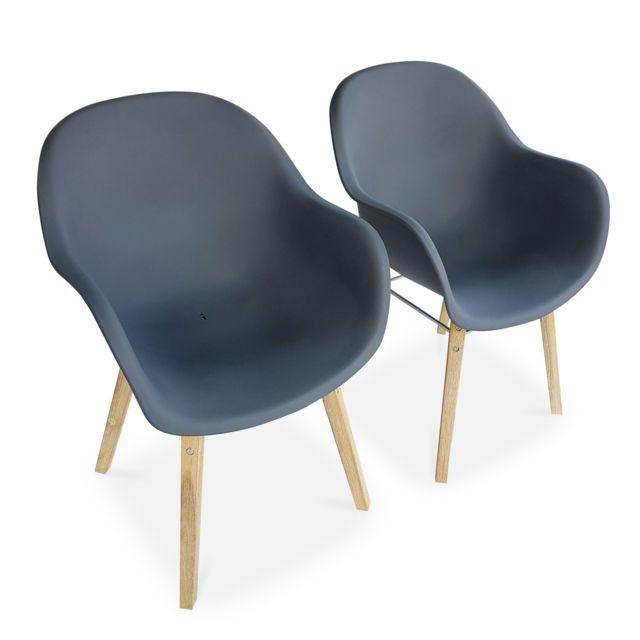 ALICE'S GARDEN Lot de 2 fauteuils scandinaves CELEBES, acacia et résine injectée, gris, Intérieur/extérieur