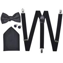 9fc341c3b68 Rocambolesk - Superbe Set de bretelles et nœud papillon de Cravate noir Tuxedo  Homme Noir