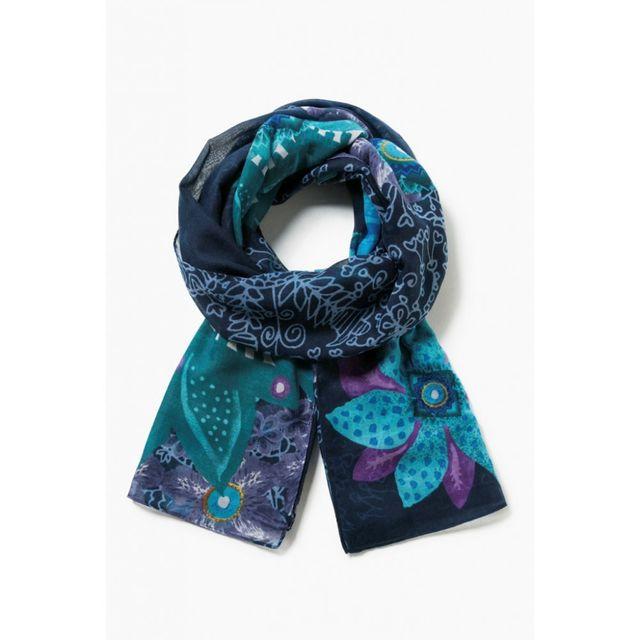 9560d8e06fb56 Desigual - Foulard Rectangle Bollywood Turquesa Bleu 17WAWFE8 - pas cher  Achat   Vente Echarpes, foulards - RueDuCommerce