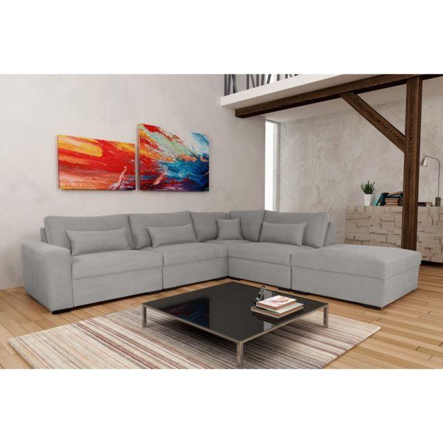 Rocambolesk Canapé Mykonos 1B1A1P Denim 804 Gris angle droit sofa divan