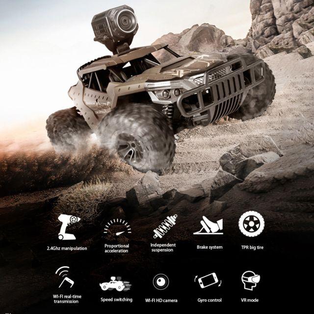 Generic Télécommande haute vitesse 4 roues motrices voiture tout-terrain Hd caméra camion enfants jouets - marron