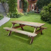 Cemonjardin - Table de pique-nique en bois Dimensions : L 180 x lg 160 x ht 75 cm En pin sylvestre traité autoclave classe Iii