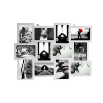Mobili Rebecca - Cadre Photo Collage Mural Rectangle 12 Imagerie Bois Blanc Vintage Retro Design