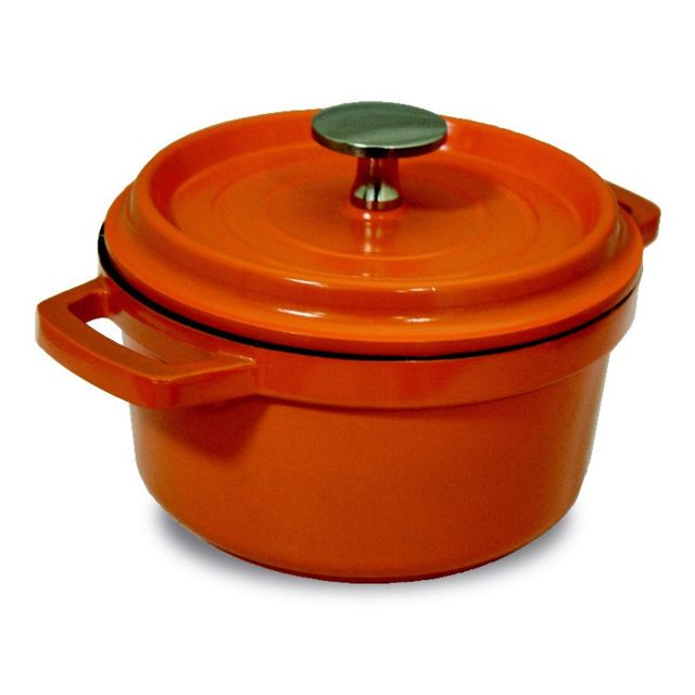 Cocotte Ronde Fonte Alu 20 Cm Orange tous feux dont induction