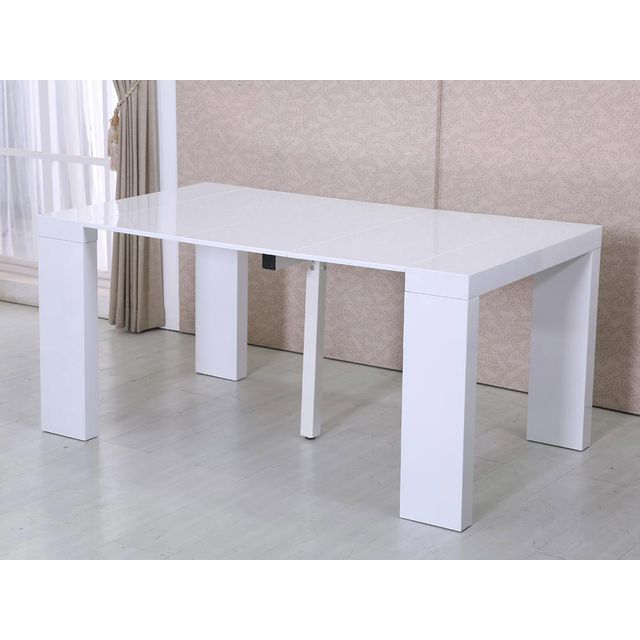 HABITAT ET JARDIN Table repas extensible Dina - 160/40 x 94 x 75 cm - Blanc laqué