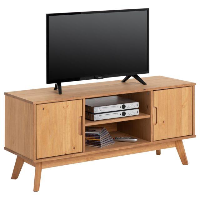 énorme réduction 8674f 06e0a Meuble TV TIVOLI banc télé de 114 cm design vintage scandinave nordique 2  portes et 2 niches, en pin massif finition bois teinté