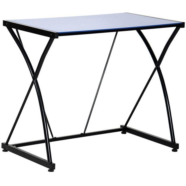 altobuy atome bureau plateau verre bleu 50cm x 82cm x 70cm pas cher achat vente bureaux. Black Bedroom Furniture Sets. Home Design Ideas