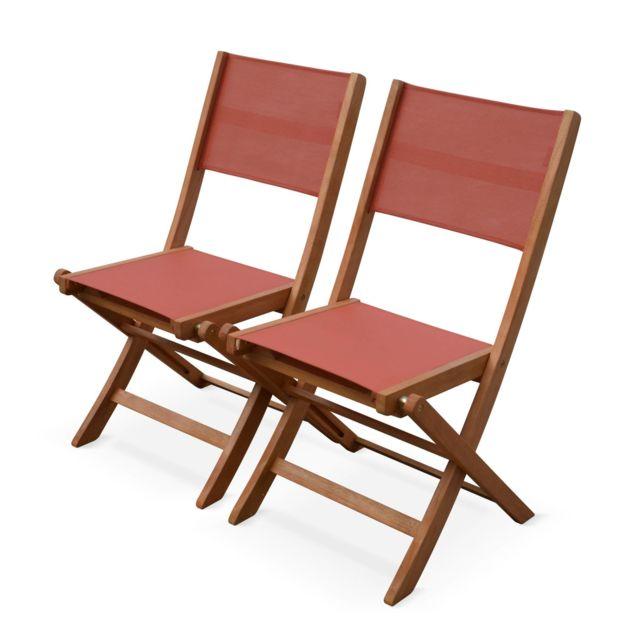2 fauteuils pliants en Bois dEucalyptus FSC huil/é et textil/ène Alices Garden Fauteuils de Jardin en Bois et textil/ène Almeria Gris Taupe