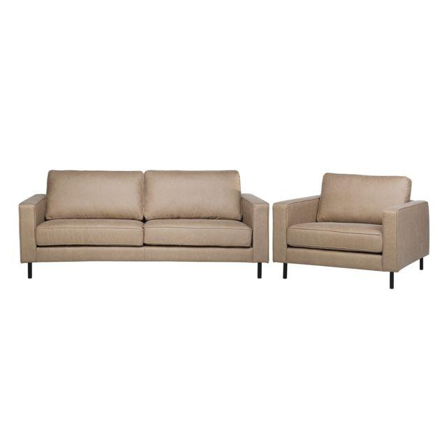 BELIANI Canapé et fauteuil de salon en cuir beige SAVALEN