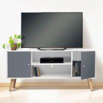 économiser 72e84 e8c0e Meuble Tv Effie scandinave bois blanc et gris