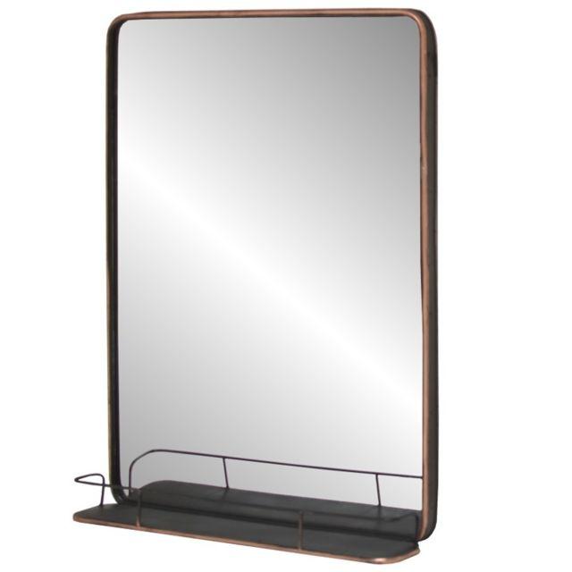Chemin De Campagne Grand Miroir Industriel Tablette Etagère Mural Fer Métal 100x75x13,50 cm