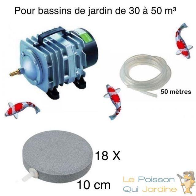 Le Poisson Qui Jardine Set aération bassin de jardin 18 disques 10 cm de 30000 à 50000 litres