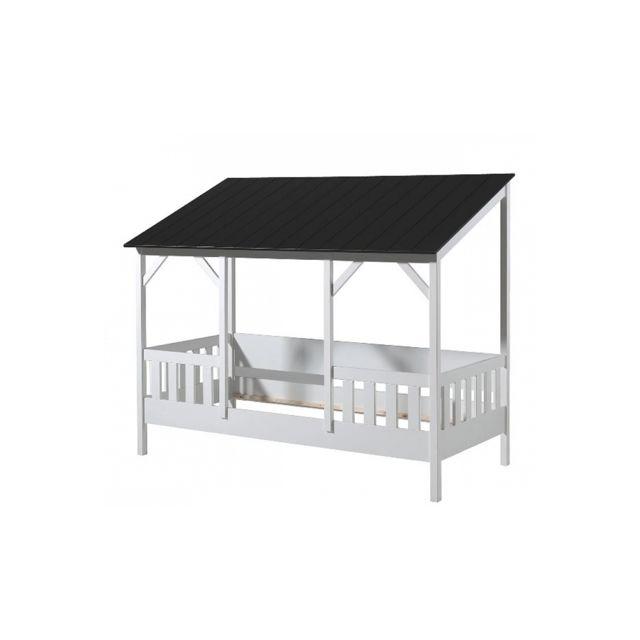 Vipack Lit cabane Malia 90x200 avec toit noir