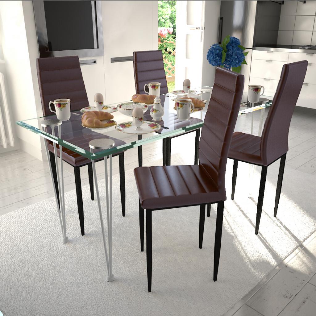 Rocambolesk Superbe Lot de 4 chaises marron aux lignes fines avec une table en verre Neuf