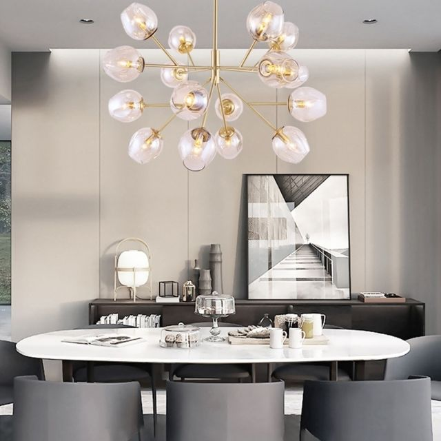 Lampe suspendue Luminaire Salon Moderne en cuivre pur simple salle à manger  étude boule de verre lustre modèle pièce créative, 16 têtes
