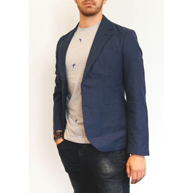 original vidéo celio veste en lin bleu marine homme vestes