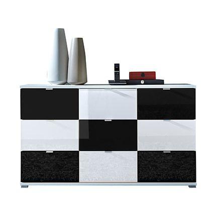Commode 9 tiroirs blanc et noir - Rani