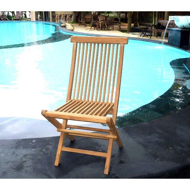Wood En Stock Chaise de jardin en teck : chaise pliante