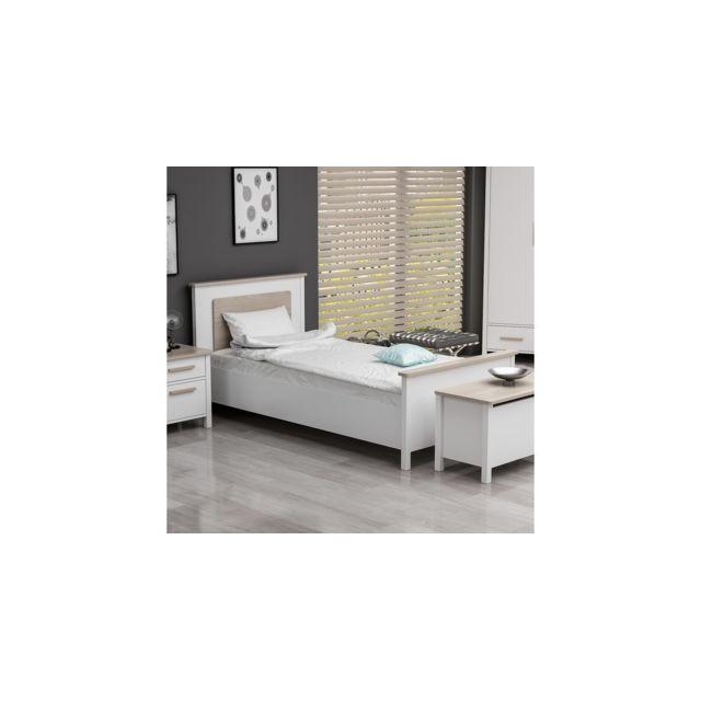 Homemania Lit Luna Cadre - Simple - avec Tête de Lit, Pied de Lit - Blanc en Bois, 102 x 202 x 92 cm