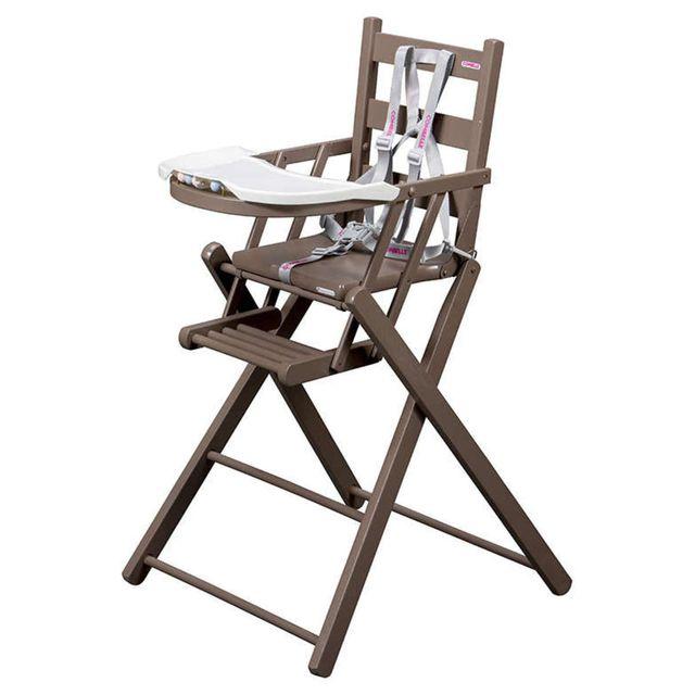 Combelle - Chaise Haute Extra-Pliante Sarah - laqué taupe