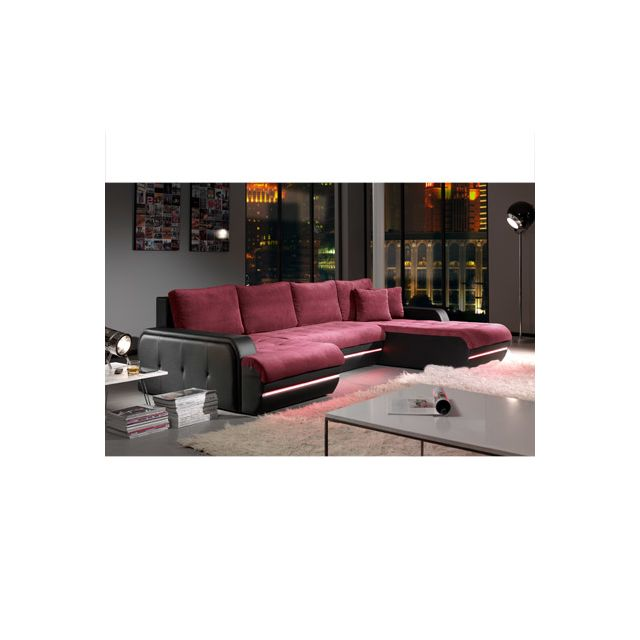 Canapé d'angle fixe à droite avec led aubergine et noir Planete