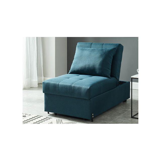 Fauteuil convertible en tissu LESNA - Bleu canard
