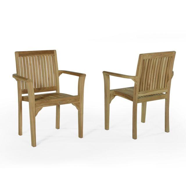 Teck\'ATTITUDE - Lot de 2 fauteuils empilables en teck Ecograde ...