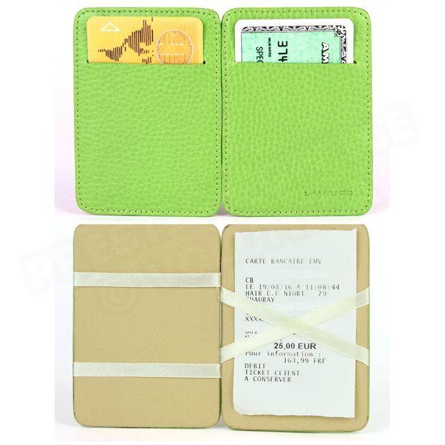 Volumica - Porte Carte Magique cuir Vert-anis Beaubourg - pas cher Achat    Vente Porte-cartes - RueDuCommerce b7b209fecb1
