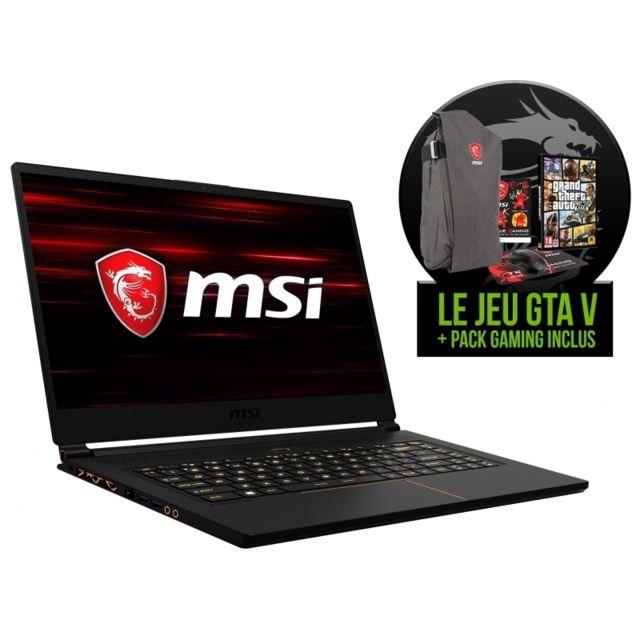 MSI - GS65 8RF-225FR Stealth Thin + Jeu GTA V + Pack : Sac à dos + Souris + Tapis de souris