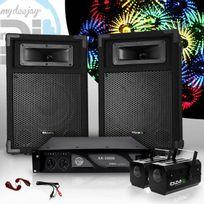 "Ibiza Sound - Pack Sono 2 Enceintes passives 8"" 2x180W + Ampli 1000W + 2 MoonFlowers + Câbles Star360"