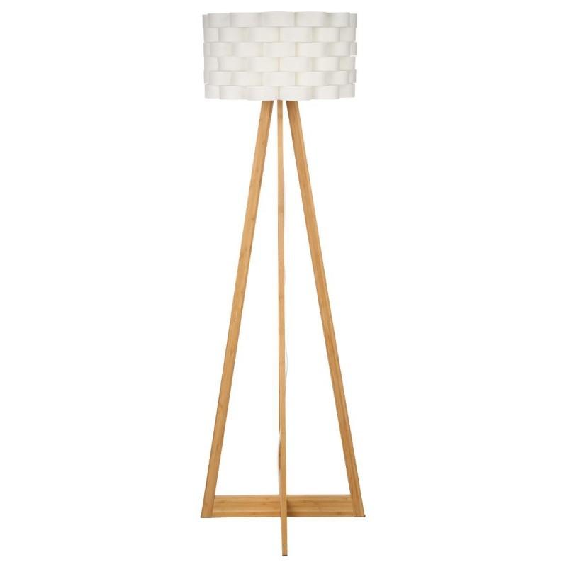 """Lampadaire Bambou """"Moki"""" 150cm Blanc"""