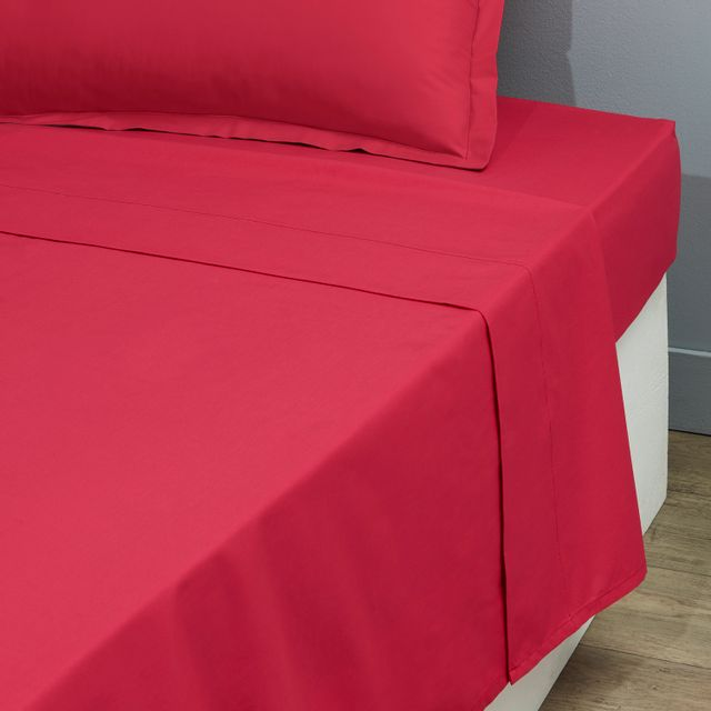 tex home drap plat en percale coton durable fuschia 180cm x 300cm pas cher achat vente. Black Bedroom Furniture Sets. Home Design Ideas