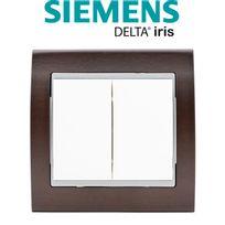 Siemens - Double Poussoir Blanc Delta Iris + Plaque Bois Wengé