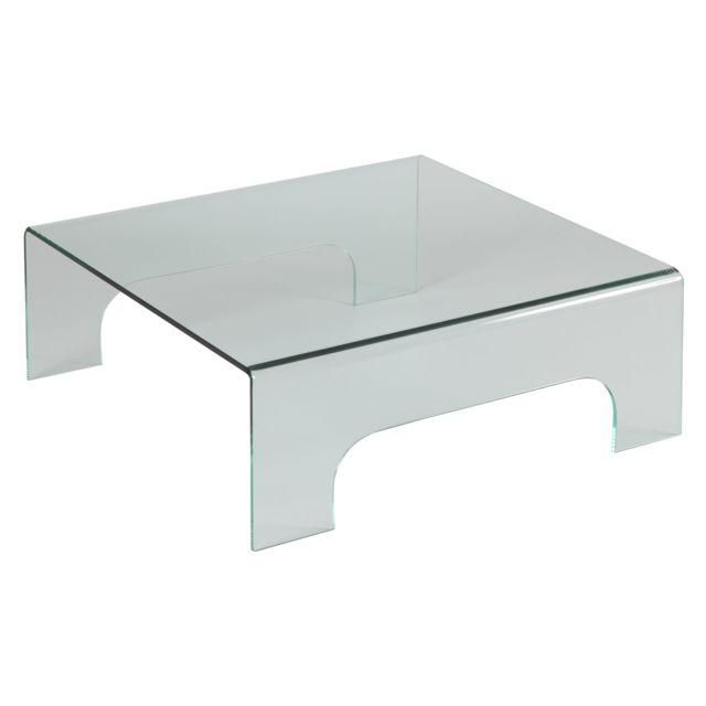 Table en carrée 90x90cm verre trempé basse Glass RjLcq435AS