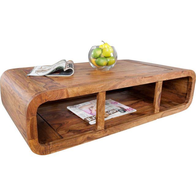 Comforium Table basse rectangulaire 100 cm en bois de sheesham massif