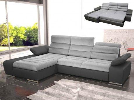 marque generique canap dangle convertible en tissu et simili mirabeau bicolore gris - Canape Angle Convertible Tissu