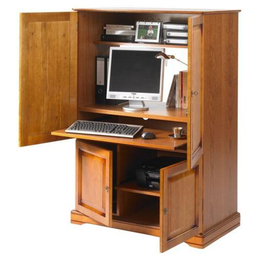 beaux meubles pas chers armoire informatique 4 portes plaqu e merisier 55cm x 97cm x 141cm. Black Bedroom Furniture Sets. Home Design Ideas